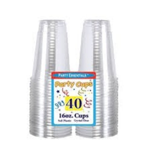 **Clear 16oz Soft Plastic Cups 40ct