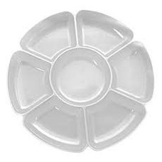 "*Clear 16"" Round 7 Compartment Tray"