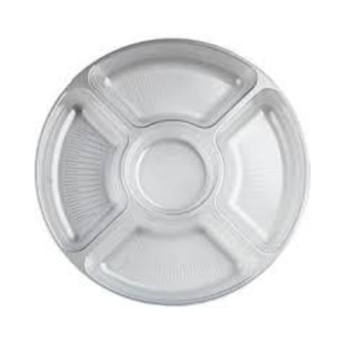 "*Clear 12"" Round 5 Section Tray"