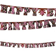 Pink Camo Birthday Banner
