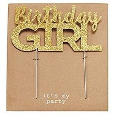 Birthday Girl Gold Glitter Cake Topper