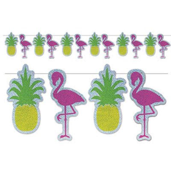 Flamingo & Pineapple Luau Streamer Banner