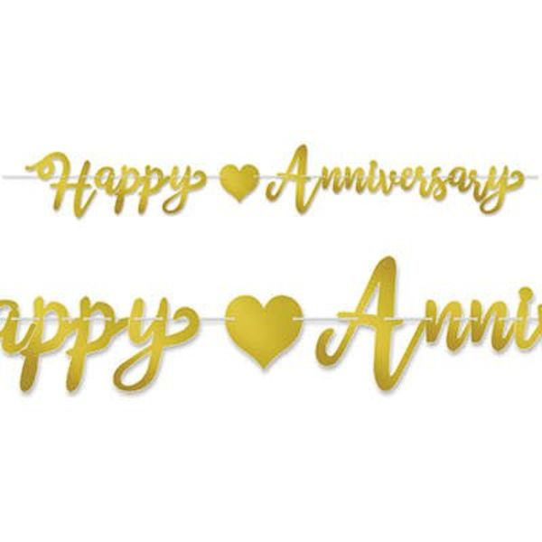 gold happy anniversary banner amys party store
