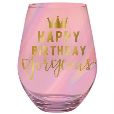 Happy Birthday Gorgeous Jumbo Steamless Wine Glass