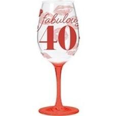 CR Gibson Fabulously 40 Acrylic Wine Glass