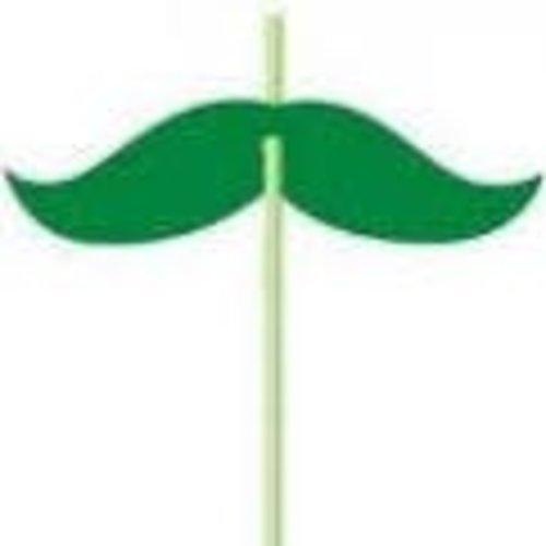 *Green Mustache Straws 6ct