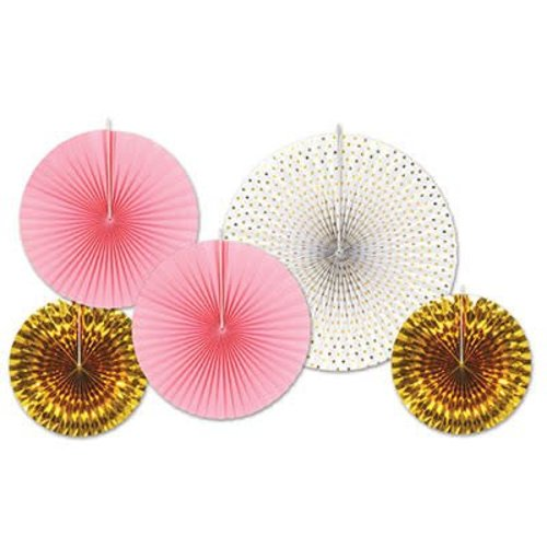 Decorative Fans Assorted Pink and Gold