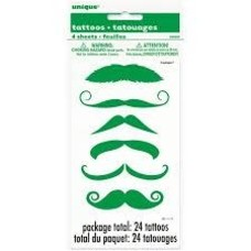 *St. Patrick's Day Green Moustache Tattoos 4 sheets