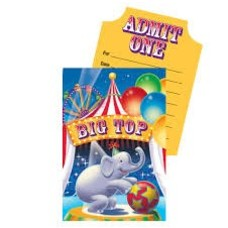 *Big Top Birthday Invitations 8ct
