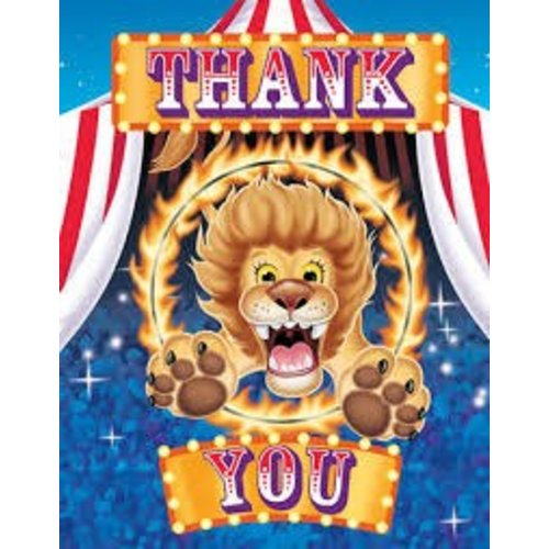 *Big Top Birthday Thank You Notes 8ct