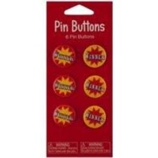 *Circus Pin Winner Buttons 6ct