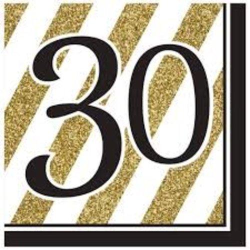 *Black & Gold 30 Lunch Napkins