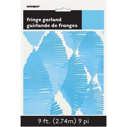 *9' Tissue Fringe Garland Light Blue