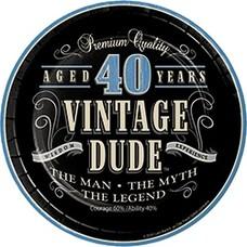 "*Vintage Dude 40 Dessert 7"" Plates 8ct"