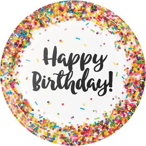 """Sprinkles Happy Birthday 9"""" Dinner Plate"""