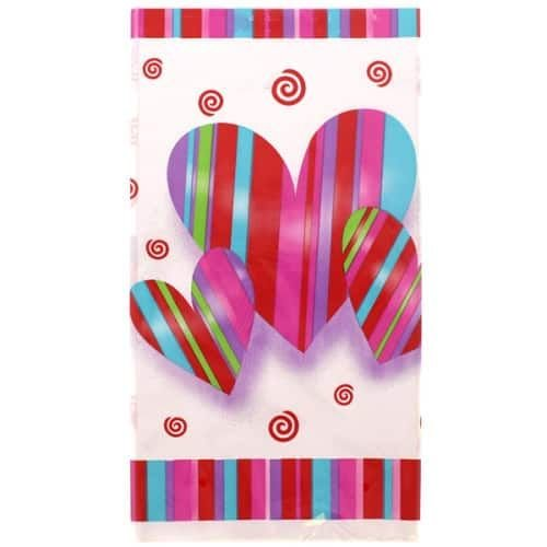 Hearts & Stripes Plastic Tablecover