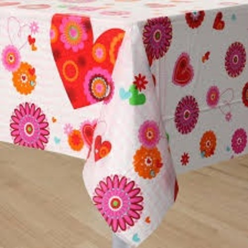 Hearts In Bloom Plastic Tablecover