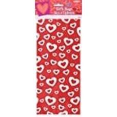 *Valentine Red White Hearts Cello Bags 20ct