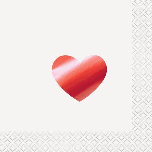 Foil Red Heart Beverage Napkin