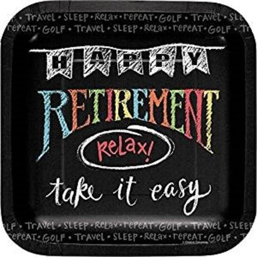 Retirement Chalk 7in Square Plates