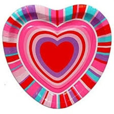 Hearts & Stripes Shaped Dinner Plate - Amys Party Store