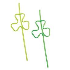 Plastic St. Patrick's Day Shamrock Straws