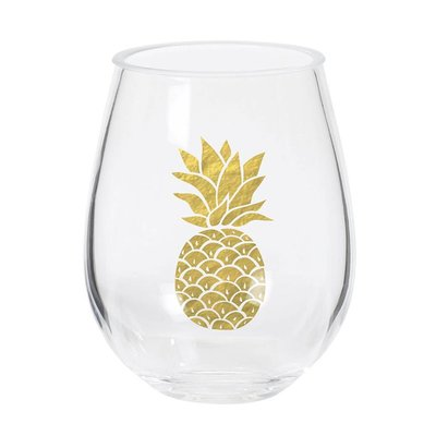 CR Gibson Gold Pineapple Double Stemless Wine