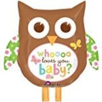 *Owl Who Loves You Baby Jumbo Mylar Balloon