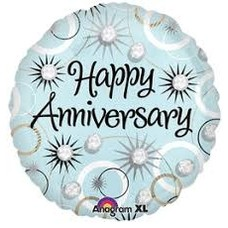 "*Happy Anniversary Diamonds 18"" Mylar Balloon"