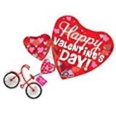 "*Happy Valentine Bike 30"" Jumbo Mylar Balloon"