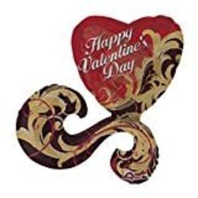 *Gold Damask Valentine Jumbo Mylar Balloon