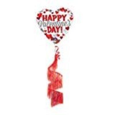 *Valentine Coil Tail Mylar Balloon