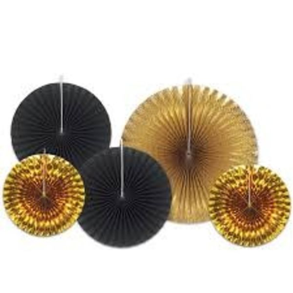 *Assorted Black & Gold Paper & Foil Fans