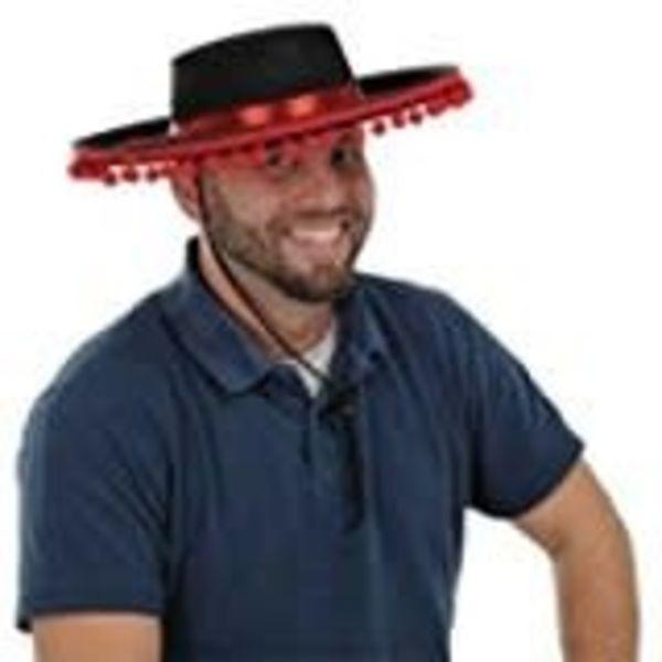 *Spanish Hat Black Felt with Red Poms