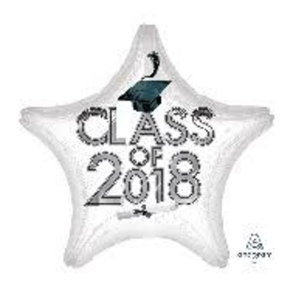 *Class of 2018 White Star Graduation Mylar Balloon