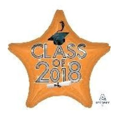 *Class of 2018 Orange Star Graduation Mylar Balloon