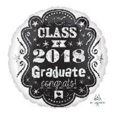 "*Class of 2018 Chalkboard Style 18"" Mylar Balloon"