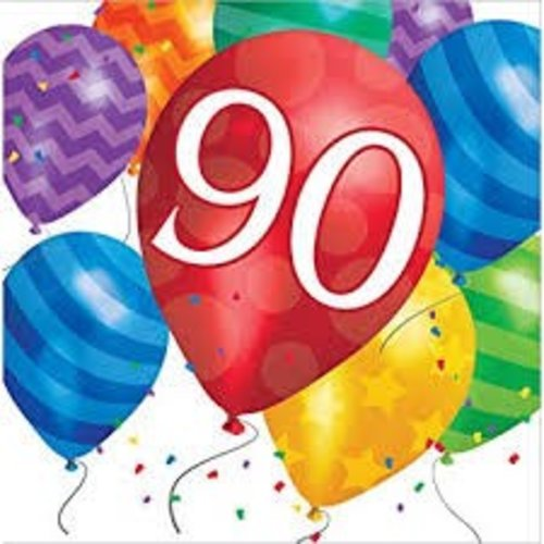 *Balloon Blast 90 Lunch Napkin 16ct