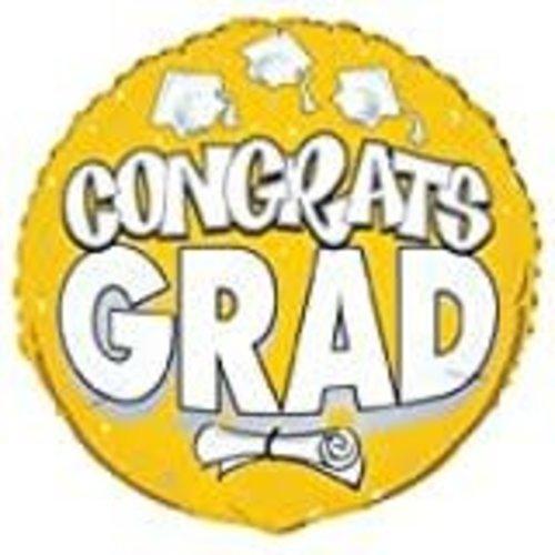 "*Congrats Grad Yellow 18"" Mylar Balloon"