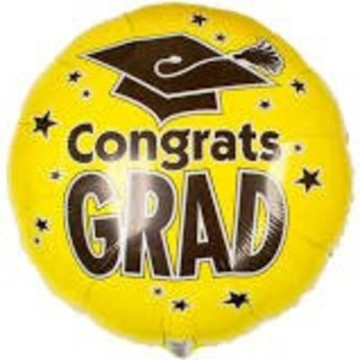 "*Congrats Grad Yellow 18"" Mylar Balloon"