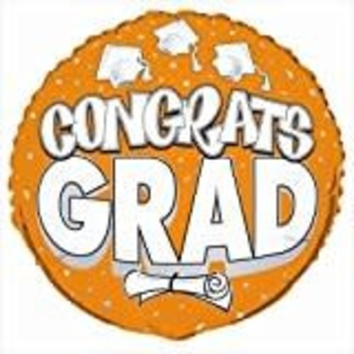 "*Congrats Grad Orange 18"" Mylar Balloon"
