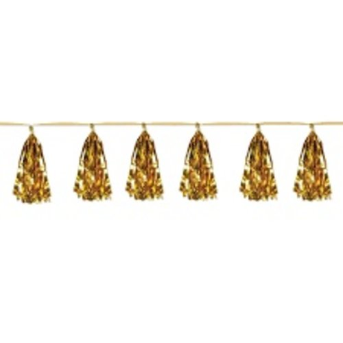*Metallic Tassel Garland Gold 8ft