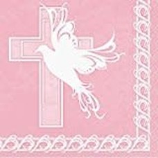 *Dove Cross Pink 16ct Lunch Napkins