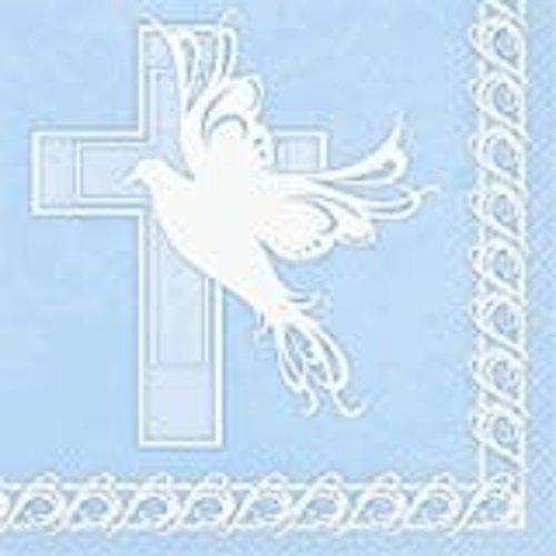 *Dove Cross Blue Religious Lunch Napkin 16ct