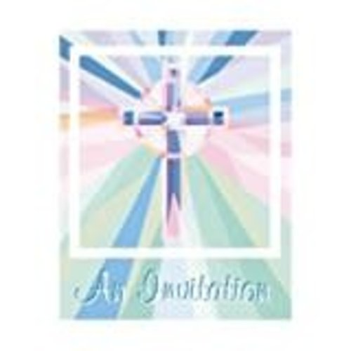 *Cross Stained Glass 8ct Invitations