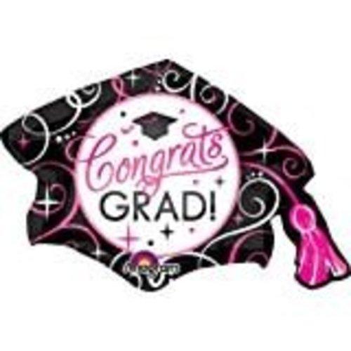 "*Jumbo 31"" Black & Pink Congrats Grad Mylar Balloon"