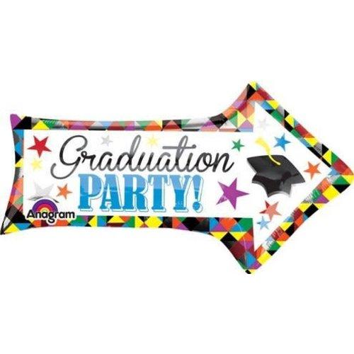 "*Graduation Party 31"" Arrow Shape Mylar Balloon"