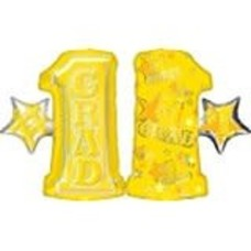"*Grad Yellow 28"" Number One Mylar Balloon"