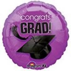 "*Grad 18"" Purple Round Mylar Balloon"