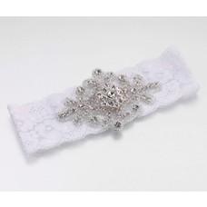 Elegant Jeweled White Lace Garter